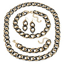 3 Piece Double Curb-Link Jewelry Set in Yellow Gold Tone and Black Rhodium-Plated