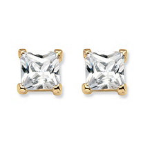 4.24 TCW Princess-Cut Cubic Zirconia 18k Yellow Gold over Sterling Silver Stud Earrings