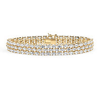 28.60 TCW Oval Cut Cubic Zirconia 18k Yellow Gold-Plated Triple-Row Tennis Bracelet 8 1/2""