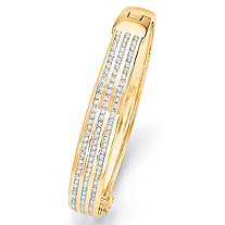 3.63 TCW Round Cubic Zirconia 14k Yellow Gold-Plated Triple-Row Bangle Bracelet 8