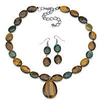 "Oval-Cut Shell and Jasper Silvertone Adjustable 18"" to 21"" Necklace and Earrings Set"