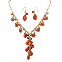 "2 Piece Pear-Shaped Amber Beaded ""Y"" Necklace and Drop Earrings Set in Yellow Gold Tone"