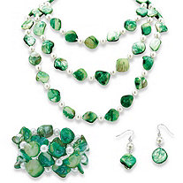 "Genuine Green Shell Simulated Pearl Silvertone 60"" Necklace, Bracelet and Earrings Set"