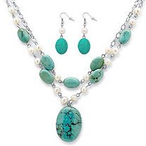 Genuine Turquoise and Cultured Freshwater Pearl Silvertone Necklace and Earrings Set
