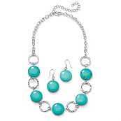 Disc-Shaped Viennese Turquoise Silvertone Metal Collar Necklace and Earrings Set