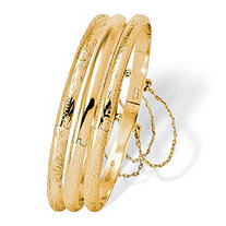 18k Yellow Gold Over Sterling Silver 3-Piece Set Floral, Engraved and Polished Bangle Bracelets 7""