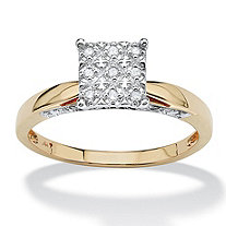 1/10 TCW Round Diamond Pave 10k Yellow Gold Pave Princess-Shaped Anniversary Ring
