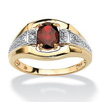 Men's 1.40 TCW Oval-Cut Genuine Garnet 18k Gold over Sterling Silver Classic Ring