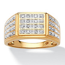 Men's .16 TCW Round Pave Diamond 18k Gold over Sterling Silver Multi-Row Ring