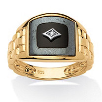 Men's Reconstituted Onyx with Diamond Accents 18k Yellow Gold Over Sterling Silver Classic Ring