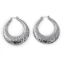 "Silvertone Hammered-Style Hoop Earrings 2"" Diameter"
