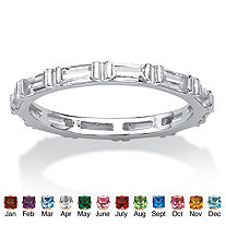 Baguette Birthstone Stackable Eternity Band in Sterling Silver