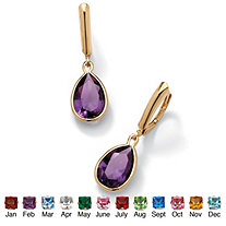 Simulated Birthstone 18k Yellow Gold over Sterling Silver Drop Earrings