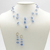 Oval-Cut Blue Austrian Crystal Silvertone Metal Waterfall-Style Necklace and Earrings Set