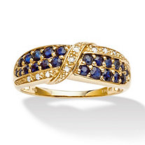 1.13 TCW Genuine Midnight Blue Sapphire 18k Yellow Gold Over Sterling Silver Ring