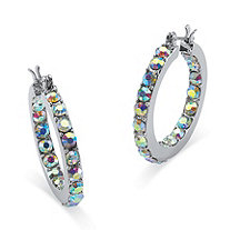 Round Aurora Borealis Crystal Silvertone Inside-Out Hoop Earrings