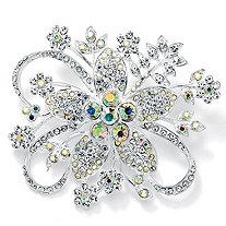 Round Aurora Borealis Crystal Silvertone Bouquet Pin