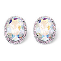 26.81 TCW Oval Cut Aurora Borealis Cubic Zirconia Sterling Silver Button Earrings