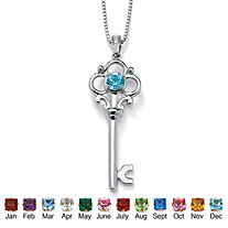 Round Simulated Birthstone Sterling Silver Key Pendant and Chain 18""
