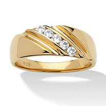 Men's .50 TCW Round Cubic Zirconia Diagonal Ring in 18k Gold over Sterling Silver