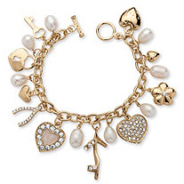 Cultured Freshwater Pearl with Crystal Accents Charm Bracelet in Yellow Gold Tone