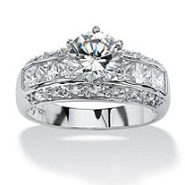 2.99 TCW Round Cubic Zirconia Platinum Over Sterling Silver Engagement Anniversary Ring