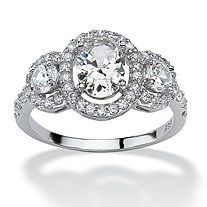 2.21 TCW Oval-Cut Cubic Zirconia Platinum over Sterling Silver 3-Stone Engagement Anniversary Ring