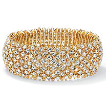 Crystal Stretch Bracelet in Yellow Gold Tone