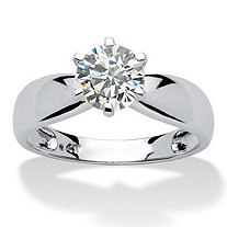 1.25 TCW Round Cubic Zirconia 10k White Gold Bridal Engagement Solitaire Ring