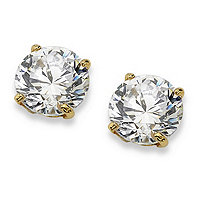 1.00 TCW Round Cubic Zirconia 10k Yellow Gold Stud Earrings