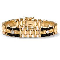 Men's 1.48 TCW Cubic Zirconia Genuine Onyx 14k Yellow Gold-Plated Bar-Link Bracelet 8""