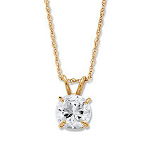 1.25-Carat Round Cubic Zirconia 10k Yellow Gold Solitaire Pendant and Rope Chain 18