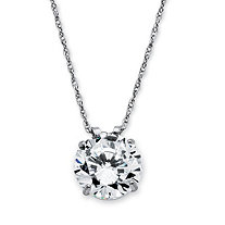 3-Carat Round Cubic Zirconia 10k White Gold Solitaire Pendant and Rope Chain 18""