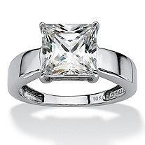 2.12 TCW Princess-Cut Cubic Zirconia 10k White Gold Solitaire Bridal Engagement Ring