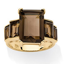 10.35 TCW Emerald-Cut Genuine Smoky Quartz 18k Yellow Gold Over Sterling Silver Step Ring