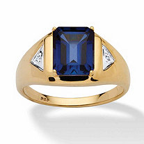 Men's 4-Carat Emerald-Cut Lab-Created Blue Sapphire 18k Yellow Gold over Sterling Silver Ring