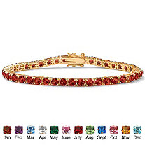 Round Birthstone Tennis Bracelet in 14k Gold-Plated