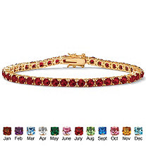 Round Simulated Birthstone 14k Gold-Plated Tennis Bracelet 7