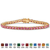 Round Simulated Birthstone 14k Yellow Gold-Plated Tennis Bracelet 7""
