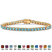 Round Simulated Birthstone 14k Gold-Plated Tennis Bracelet 7""