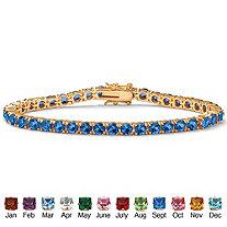 Round Birthstone Tennis Bracelet in 14k Gold-Plated