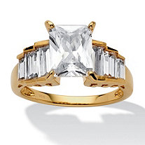 4 3/4 TCW Octagon-Shaped Cubic Zirconia 14k Gold over Sterling Silver Engagement/Anniversary Ring