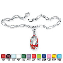 Simulated Birthstone Silvertone Baby Shoe Charm Pendant with FREE Bracelet