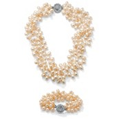 Peach-Color Cultured Freshwater Pearl Silvertone Metal Accents Bracelet and Necklace Set