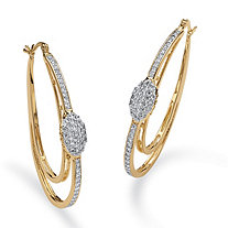 1.25 TCW Round Cubic Zirconia 14k Yellow Gold-Plated Oval Hoop Earrings