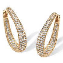 8.10 TCW Cubic Zirconia 14k Yellow Gold-Plated Oval-Shape Inside-Out Huggie Hoop Earrings