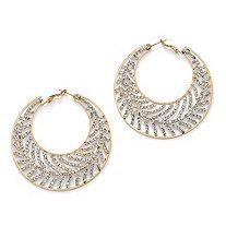 Crystal Leaf Hoop Earrings in Yellow Gold Tone