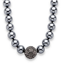 "Simulated Grey Pearl and Multi-Crystal Accent Black Rhodium-Plated Necklace Adjustable 18"" to 21"""