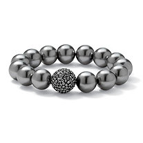 Simulated Grey Pearl and Multi-Crystal Accent Black Rhodium-Plated Stretch Bracelet 8""