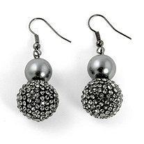 Simulated Grey Pearl and Multi-Crystal Accent Black Rhodium-Plated Drop Earrings